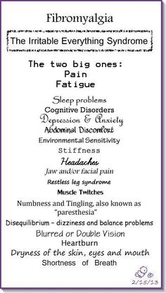 Fibromyalgia symptoms.
