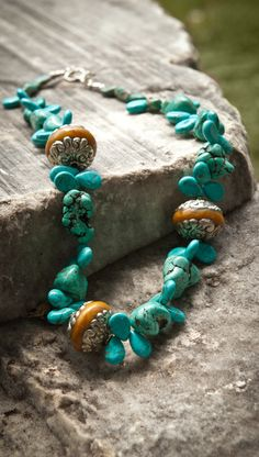 A new combination for turquoise. Custom fashion jewelry designed and crafted locally by me in Colorado.