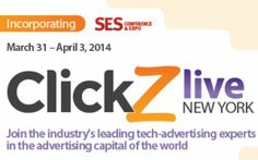 ClickZ Live New York@ New York Marriott Marquis,1535 Broadway,New York,10036,United States on March 31-April 03 @ 08:00-16:15.  The newest, next generation digital marketing conference deigned by Digital Marketers for Digital Marketers.  Price: $25-$2,795  Speakers: Patrick Albano, Kendall Allen, John Baker, Lisa Barone,Andy Beal, Eshwar Belani, Jordan Bitterman, Skip Brand, Tamara Bousquet, Josh Braaten, John Burke, Maggie Burke, Mel Carson and more.  Category: Conferences