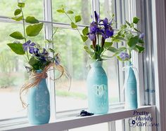 Spray Painted Glass Jars and Bottles