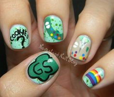 Girl Scout fingernails (I, personally, do not have the level of nail skill needed for these)
