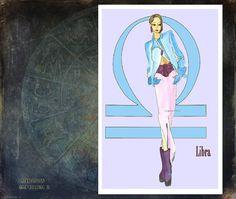 Libra-fashion illustration-Greeting Card 5.5x8 by MedusasEmporium2