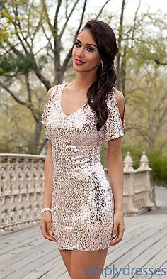 Short Sequin Dress with Sleeves at PromGirl.com