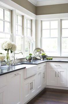kitchen with dark walls white cabinets | ... walls, farmhouse, sink, white, shaker, kitchen cabinets, honed, black