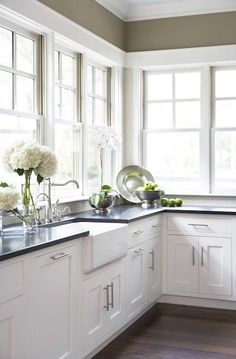 kitchen with dark walls white cabinets | ... walls, farmhouse, sink, white, shaker, kitchen cabinets, honed, black