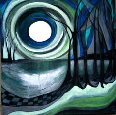 "Saatchi Online Artist: Mo Kelly; Acrylic, Painting ""Lake Moonlight"""