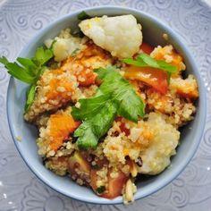 Sweet Potato Quinoa Salad Recipe Salads, Side Dishes with quinoa, sweet potatoes, olive oil, salt, paprika, cauliflower, lemon, fresh parsley, pinenuts, cherry tomatoes
