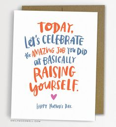 Raising Yourself Card/ Mother's Day Card by emilymcdowellstudio