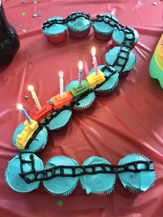 Train theme birthday party cupcakes for a two year old
