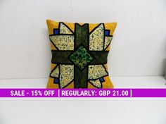 Patchwork Cushion, stained glass, Cover, Cotton Coussin, Patchwork pillow, Home decor, Sofa cushions, Handmade gifts, wedding gifts, yellow,