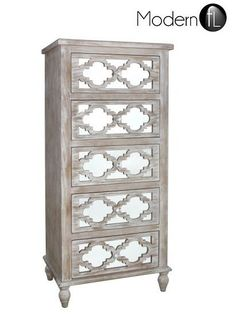 ANTIQUE STYLE WOOD TALL CHEST OF DRAWERS WITH MIRRORED FRONT, MIRRORED DRAWERS