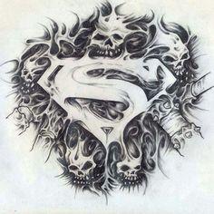 Superman by mockrabbit on DeviantArt Evil Skull Tattoo, Skull Tattoo Design, Tattoo Design Drawings, Skull Tattoos, Body Art Tattoos, Sleeve Tattoos, Tattoo Designs, Wicked Tattoos, Badass Tattoos