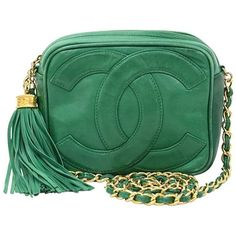 8ed0b599c904 Preowned Vintage Chanel Green Leather Fringe Shoulder Small Bag ( 1