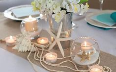 Sand, Pearls and Starfish Wedding Party Ideas Dream 2 Reality Events's Wedding / Sand, Pearls and Starfish - Photo Gallery at Catch My Party Beach Table Decorations, Beach Wedding Centerpieces, Wedding Reception Decorations, Wedding Ideas, Trendy Wedding, Fish Bowl Centerpieces, Beach Party Decor, Starfish Wedding Decorations, Nautical Centerpiece