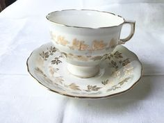 Gold TEA CUP Bone China by Colclough Soft grey and gold Teacup Saucer Set Fine Bone China Made in England