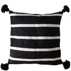 Moroccan Striped Pillows With Poms – Black & White From Baba Souk
