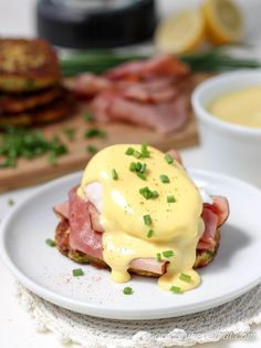 Zucchini Fritter Eggs Benedict | Low Carb, Gluten-free, Paleo, Keto, THM |