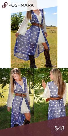 """Arrives Thursday❗️Oh My Stars Duster Oh My Stars Duster >Model is  (5'4 - 126LBS, 4/6) * MATERIAL: 96% Polyester / 4% Spandex * LONG & STRETCHY!! << GREAT FIT!! * SIZE CHART:      ONE SIZE -    APPROX 51-52"""" from back collar to bottom hem. Personal note bin ascx crazy train Tops"""