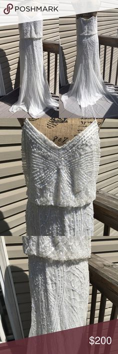 Adrianna Papell white sequin dress Adrianna Papell white sleeveless sequin gown. Brand new without tags. Has a few spots of missing sequin but comes with extra bag attached Adrianna Papell Dresses Wedding