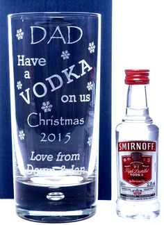 Engraved CHRISTMAS VODKA DESIGN Hi Ball Glass + Miniature