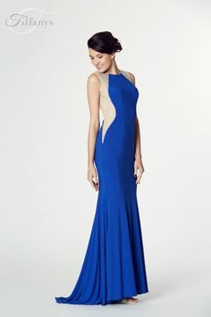 Tiffanys Illusion Prom Mila Jersey Beaded Gown in Royal Blue