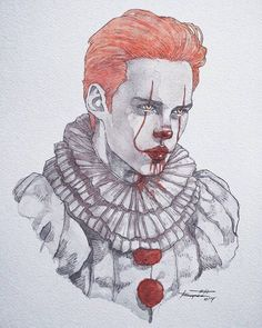 Bill Skarsgard getting into character. He is so young ,handsome and talented! - Bill Skarsgard getting into character. He is so young ,handsome and talented! Arte Horror, Horror Art, Horror Movies, Es Pennywise, Pennywise The Dancing Clown, Creepy Drawings, Cute Drawings, Art Du Croquis, Fan Art