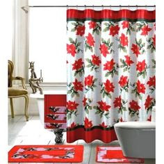 The Holiday Aisle Christmas Shower Curtain Set Bathroom Plants, Bathroom Spa, Bathroom Curtains, Christmas Bathroom Sets, Christmas Shower Curtains, Modern Master Bathroom, New Toilet, Red Christmas, Holiday