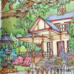The front porch of Rose Harbor Inn in Debbie Macomber's Come Home to Color | Color Art by Betty Hung