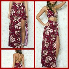 🎉 2 X HOST PICK  🎉  Tropical 2pc. Maxi Set This set is unlined, but not see-through and the skirt is made with a side button closure and is a high waist wrap around maxi. (Please note the top does not have breast support)    Brand is Haute Rouge and currently retails for $68.00 on their website.   Care instructions are hand wash or dry clean.  EXACT MAXI SET AS SHOWN ON THE MODEL   Suggested Sizing: Small 0-2, Medium 4-6, Large 8-10. If you are in between sizes I suggest going to the next…