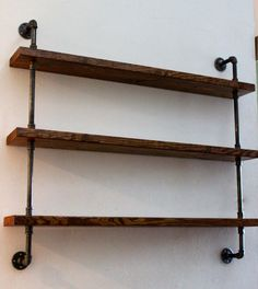 deep wall shelves industrial pipe shelves images on inch deep wall shelf wide shelves deep floating wood shelves Wood Shelving Units, Industrial Wall Shelves, Shelving Design, Pipe Shelves, Pallet Shelves, Rustic Industrial, Wood Shelves, Glass Shelves, Wall Shelving