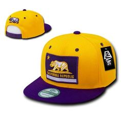 bd4d3ba594b New California Republic Flag Flat Bill Snapback Baseball Cap Hat Gold  Purple