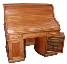 """Rare Wooton """"S"""" oak rolltop desk w/ double rotary base and patent stamp. Sold for $9500 in 2000"""