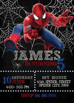Spiderman Theme Party, Spiderman Birthday Invitations, Spiderman Birthday Cake, Birthday Invitation Templates, Invitation Maker, Superhero Party, Birthday Party Invitations, Spider Man Birthday, Spider Man Party