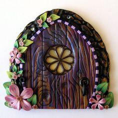 Purple Cottage Garden Fairy Door by Claybykim on Etsy, $20.00