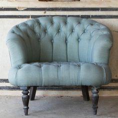 Linen Buttonback Round Chair - Pale Blue