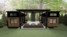 Double THOW with open air pavilion between. Container Home Designs, Container Van House, Building A Container Home, Shipping Container House Plans, Container Buildings, Container Homes, Tiny House Village, Tiny House Cabin, Tiny House Living