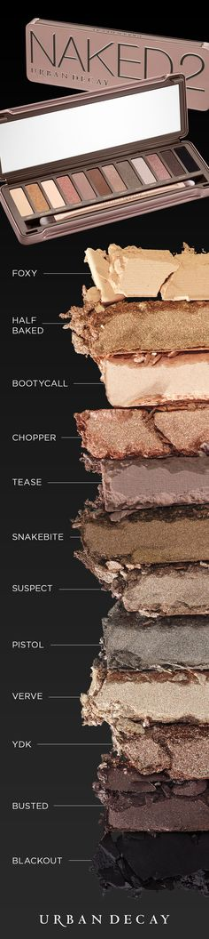 From luminous shades with shimmer and sparkle to the smoothest mattes imaginable, Naked2 is packed with 12 never-boring taupe-hued neutrals (including a gorgeous grayish brown, a glittery copper and our lewdest, blackest black). Expand your Naked range to create even more sultry neutral looks, smoky dramatic looks and everything in between.