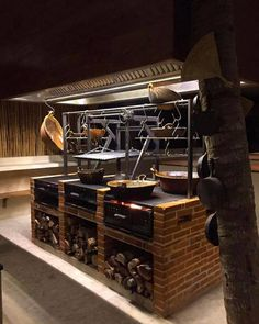 Basic Kitchen Area Concepts For Inside or Outside Kitchen areas – Outdoor Kitchen Designs Restaurant Grill, Restaurant Kitchen, Restaurant Design, Outdoor Restaurant, Asado Grill, Bbq Grill, Fire Grill, Outdoor Kitchen Bars, Outdoor Kitchen Design