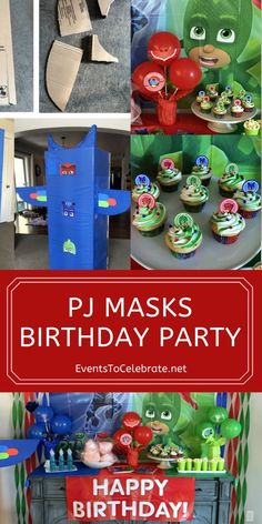 It's time to be a hero! Into the night to save the day! My kids are obsessed with PJ Masks right now and my four year old INSISTED on a PJ Masks birthday party this year. Birthday Party Games For Kids, Birthday Themes For Boys, Happy Birthday Banners, Diy Birthday, First Birthday Parties, Birthday Party Themes, Third Birthday, Pj Mask Party Decorations, Pom Pom Decorations