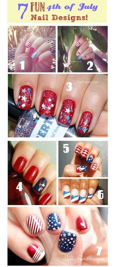 4th of July Nail Design Ideas - some are very easy, some  are a little more challenging but just as fun!!!