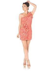 #6278P-Coral One Shoulder Rhinestone Short Party Dress (Size XS to 2XL- 4 Colors)