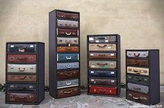 Paint dresser drawers to look like the tops of vintage suit cases.