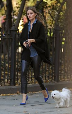 Olivia Palermo Winter Chic: Leather Pants & Black Cardigan