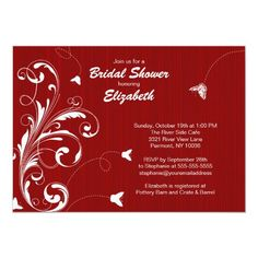 Custom Butterfly flourish Bridal Shower Invite Red created by celebrateitinvites. This invitation design is available on many paper types and is completely custom printed. Butterfly Wedding Invitations, Bridal Shower Invitations, Custom Invitations, Invites, Colored Envelopes, White Envelopes, Envelope Liners, Crate And Barrel, Flourish