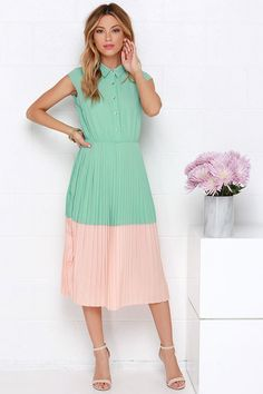 peach and mint green pleated dress