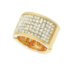 """T Tahari """"Essentials"""" Pave Stretch Gold Ring Pretty pave gorgeously glistens on T Tahari's band ring. Stretches to fit finger. Crafted in gold-tone mixed metal. Fits sizes 7 to 9. Custom ring sizing is not available for this item.?  * Product Dimensions:?3.4 x 2.7 x 1.2 inches* Shipping Weight:?0.8 ounces Tahari Jewelry Rings"""
