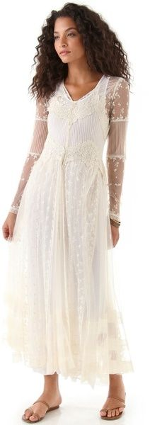 HAUTE HIPPIE ivory sheer midi dress with slim sleeves, full skirt, tonal embroidery, and different lace appliques.
