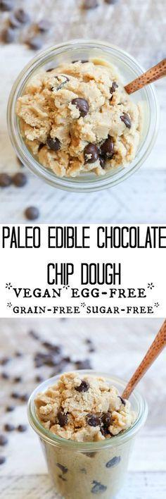Paleo Chocolate Chip Edible Cookie Dough - vegan, refined sugar-free, paleo, gluten free, grain free, and healthy dessert recipe!