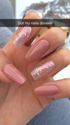 - ballerina nails -- 32 Affordable Pink Nail Art Ideas You Can Copy Coffin Nails Nude, Aycrlic Nails, Cute Acrylic Nails, Acrylic Nail Designs, Cute Nails, Glitter Nails, Simple Acrylic Nail Ideas, Nails 2016, Oval Nails