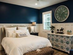 Paint color is Naval SW6244 by Sherwin Williams.  Fresh Coastal Home Design Ideas and Paint Colors